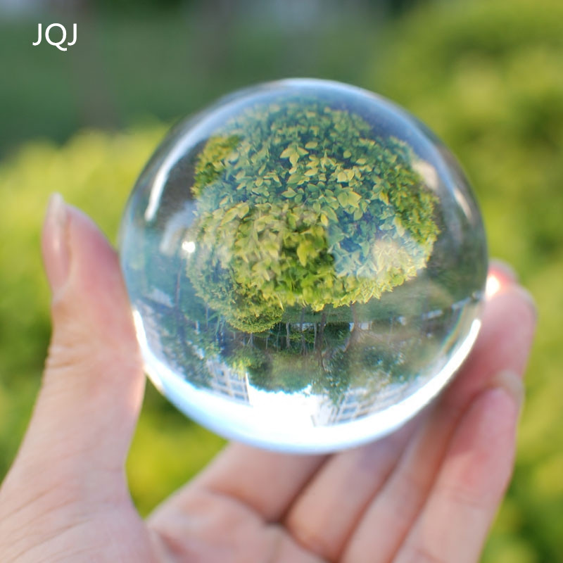 JQJ Clear Crystal Sphere Ball 60 mm Feng shui Decorative Glass Marbles Balls Transparent Office Desk Ornaments Child Globe Craft