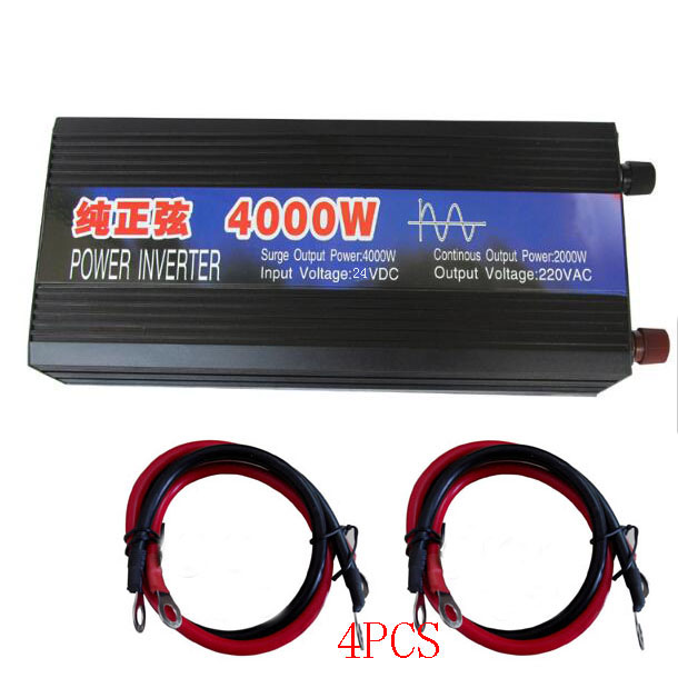 Pure Sine Wave Car Power Inverter 4000W Dc 24v To Ac 220v Car Converter Inverters For Solar Boat Home Appliances