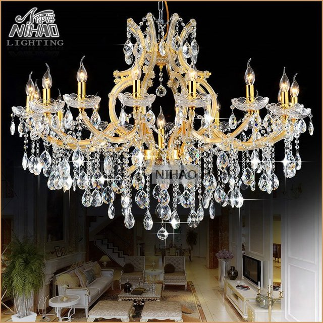 Clear Gold Candle Chandelier Large Cristal Vintage Incandescent Luminaire Pendelleuchte Lights 17 Lamps Md8477