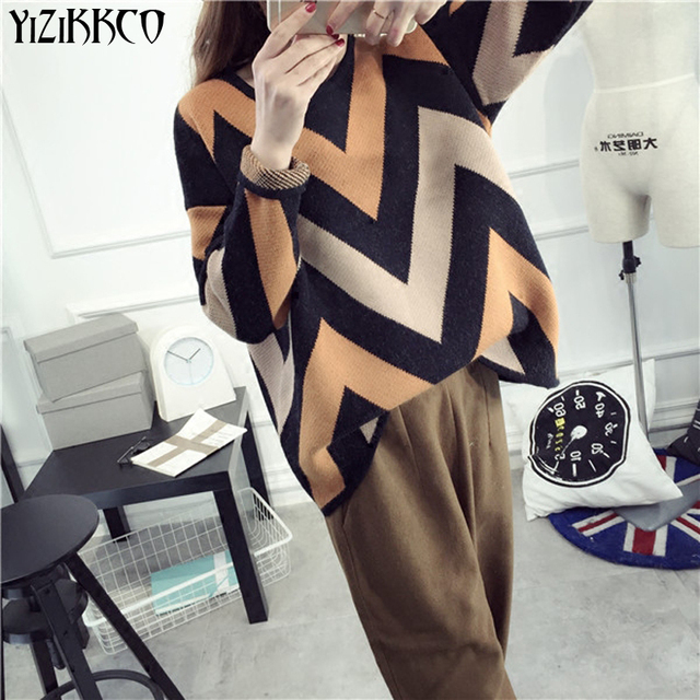 YiZiKKCO Brand Woman Sweaters Pullovers 2016 New Autumn Winter Knitted Sweater Womens Pullover Pull Femme Sweter Mujer WHD229