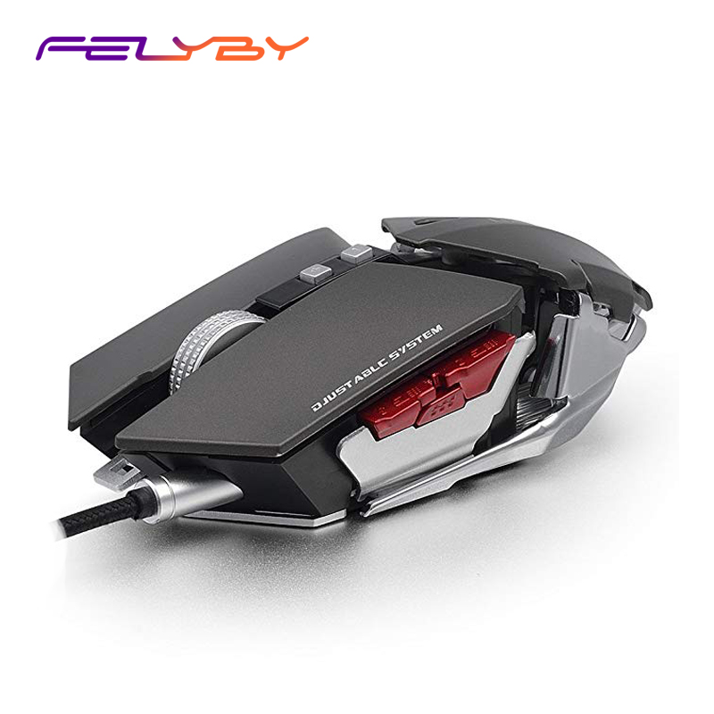 FELYBY USB Wired Gaming Mouse Metal Custom Programming Support Ergonomics 4800DPI 4 Color 10 Button Computer Mouse For PC Laptop