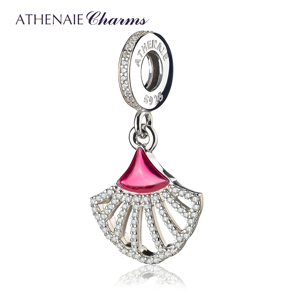 ATHENAIE 925 Silver with Pave Clear CZ Dress Enamel Pendant Drops Charm Beads DIY Jewelry Gift for Birthday, Anniversary'Day