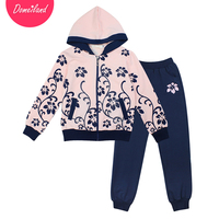 2017 Spring Domeiland Children Clothing Sets Sport Kid Girl Long Sleeve Sweater Hooded Jackets Floral Clothes