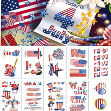 5pcs/lot American Country Flag Tattoo Stickers Independence Day 4th of July Body Face Art Tattoo Decals for National Day football panama flag tattoo body stickers