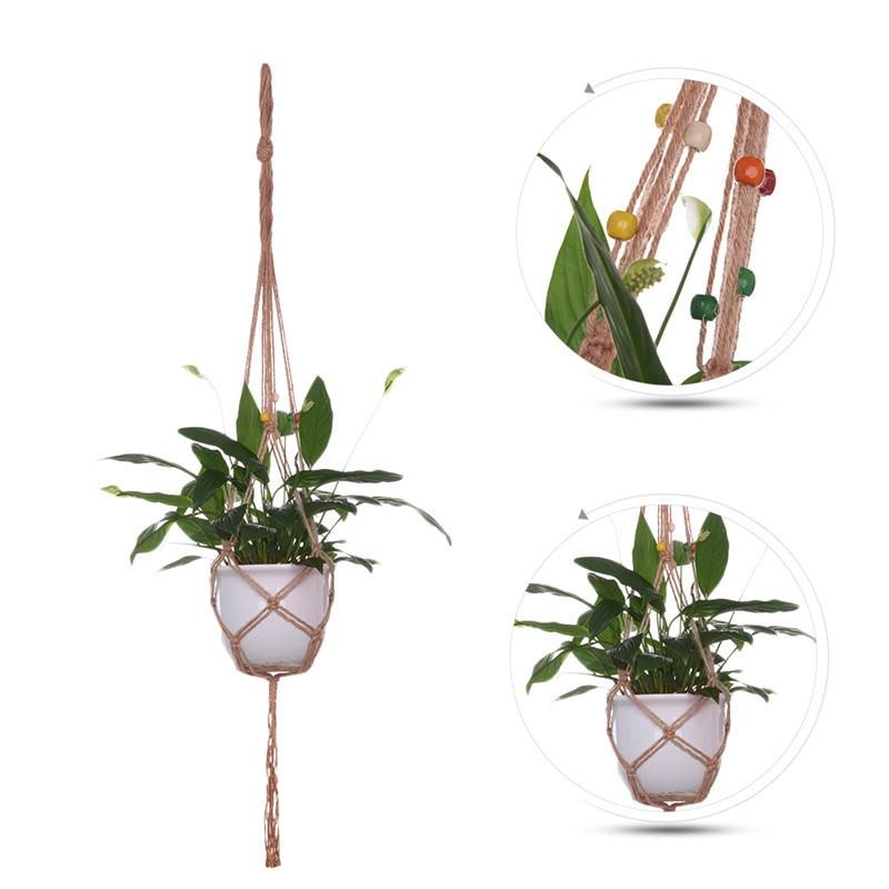 Plant Pot Holders Diy: DIY Flowerpot Hanging Rope Macrame Plant Pot Holder Hemp