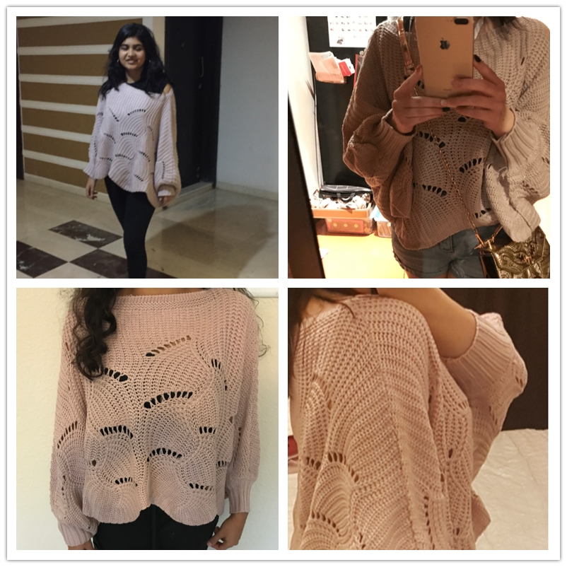 60879dc7bac Dotfashion Batwing Sleeve Loose Knit Scalloped Dolman Sweater Women Pink Boat  Neck Pullovers 2019 Spring Fall Vacation Plain Top-in Pullovers from  Women s ...