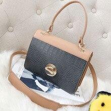 ETAILL Pu Leather Women Handbag Crocodile Pattern Small Flap Bag Female Shoulder Bag with Wide Strap