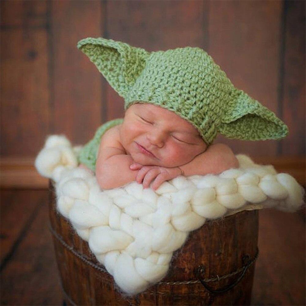 2pcs Stars War Yoda Cartoon Ears Hat+pants Clothes Baby Set Toddlers Handmade Newborn Infant Photography Props