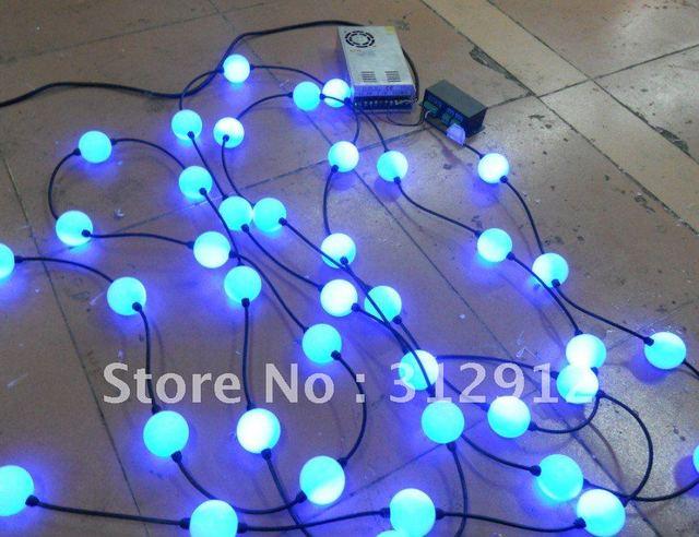 50 pcs bola cheia de cor tipo led pixel módulo, Entrada dc12v, 3 pcs 5050 RGB + WS2811 IC ; com dmx conversor e fonte de alimentação