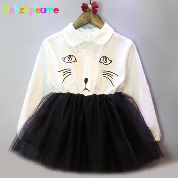 Gorąca sprzedaż lato jesień ubrania dla dzieci Cartoon kot sukienki dla dziewczynek koronki Tutu księżniczka sukienka odzież dla dzieci 0-7Years nowy BC1413 tanie i dobre opinie Dziewczyny babzapleume Powyżej kolana Mini Suknia balowa Skręcić w dół kołnierz Pełna REGULAR Śliczne COTTON Poliester