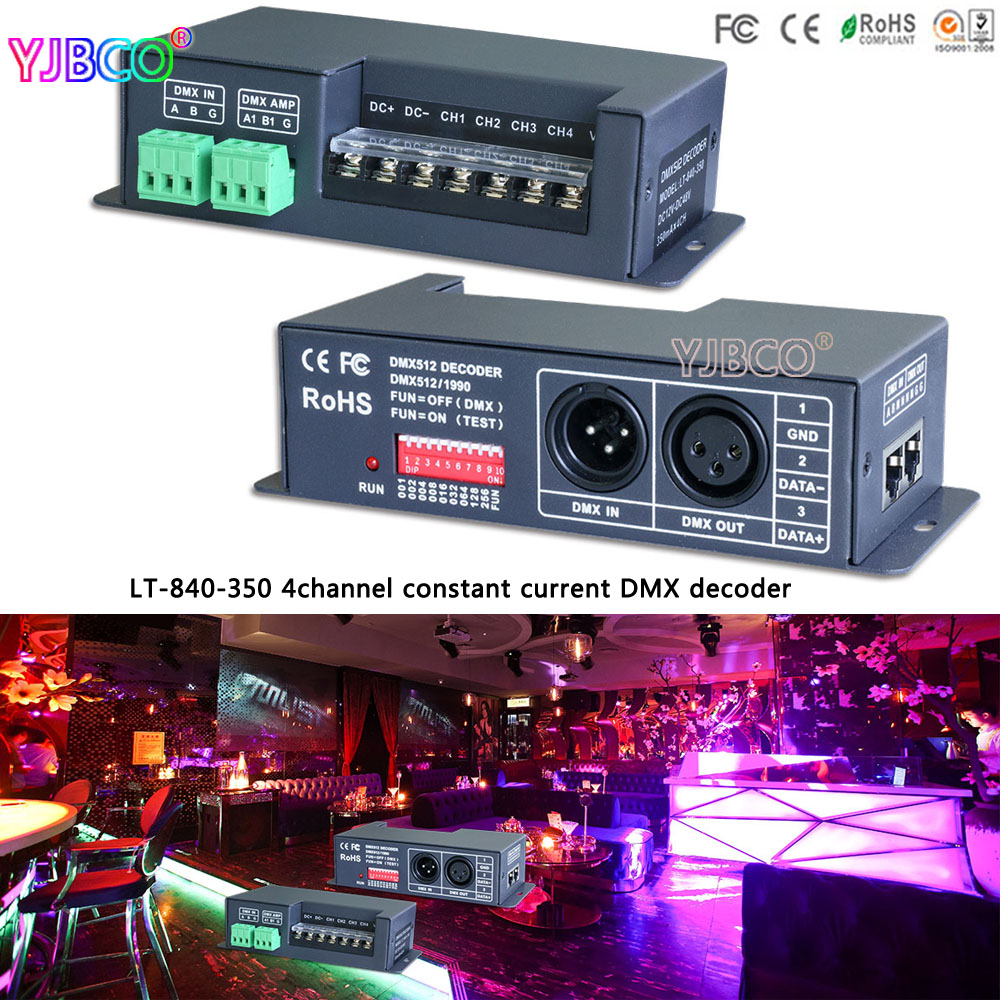 LTECH LT-840-350 4CH DMX512 led constant current DMX-PWM Decoder;DC12V-DC48V input;350mA CC*4CH output led controller ltech r4 cc zone constant current receiver dmx512 decoder led receiving controller dmx signal driver 2 4g wireless led dimmer
