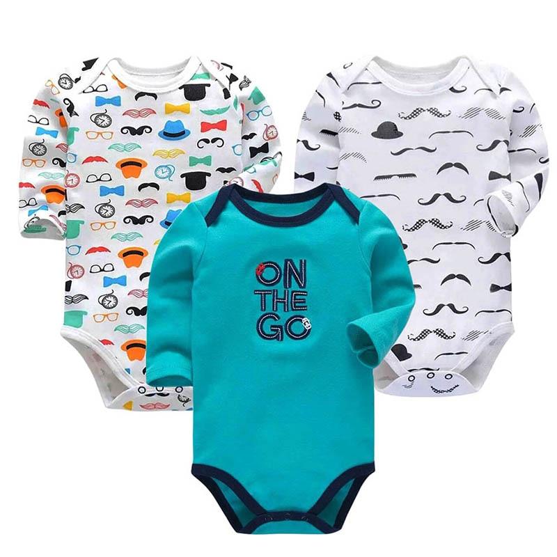 3-Pack Long Sleeve Bodysuits for Infant Girls Boys