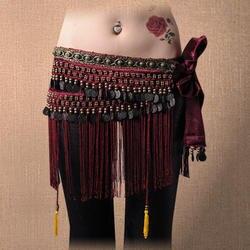 Лидер продаж Племенной танец живота ремни 3 цвета для женщин повязка на бедра с кисточками бархат с бусины и монеты бахрома