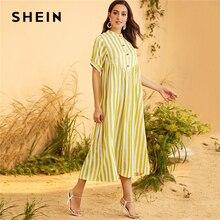 Shein 옐로우 스트라이프 버튼 위로 절반 옆을 터 놓은 부분 맥시 겸손 드레스 여성 여름 가을 짧은 소매 높은 허리 pleated 긴 드레스