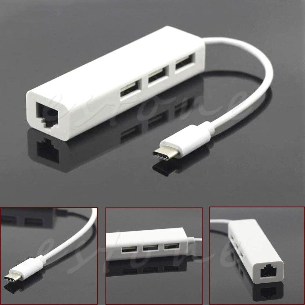 USB 3.1 Type C USB-C Multiples 3 Ports Hub Avec Ethernet Réseau LAN Adaptateur