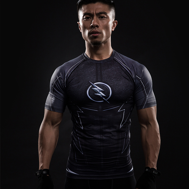 3424831a Costume Reverse black Flash 3D Printed T-shirts Men Raglan Short Sleeve  Superhero Compression Shirt