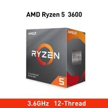 새로운 amd ryzen 5 3600 3.6 ghz 6 코어 12 스레드 65 w 원래 프로세서 소켓 am4 데스크탑 packge 레이쓰 스텔스 라디에이터 팬