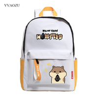 Animal Hamster Doggie Cat Backpack Cute Japanese Oxford Shoulder Rucksack Boys Girls Schoolbag with Ribbon