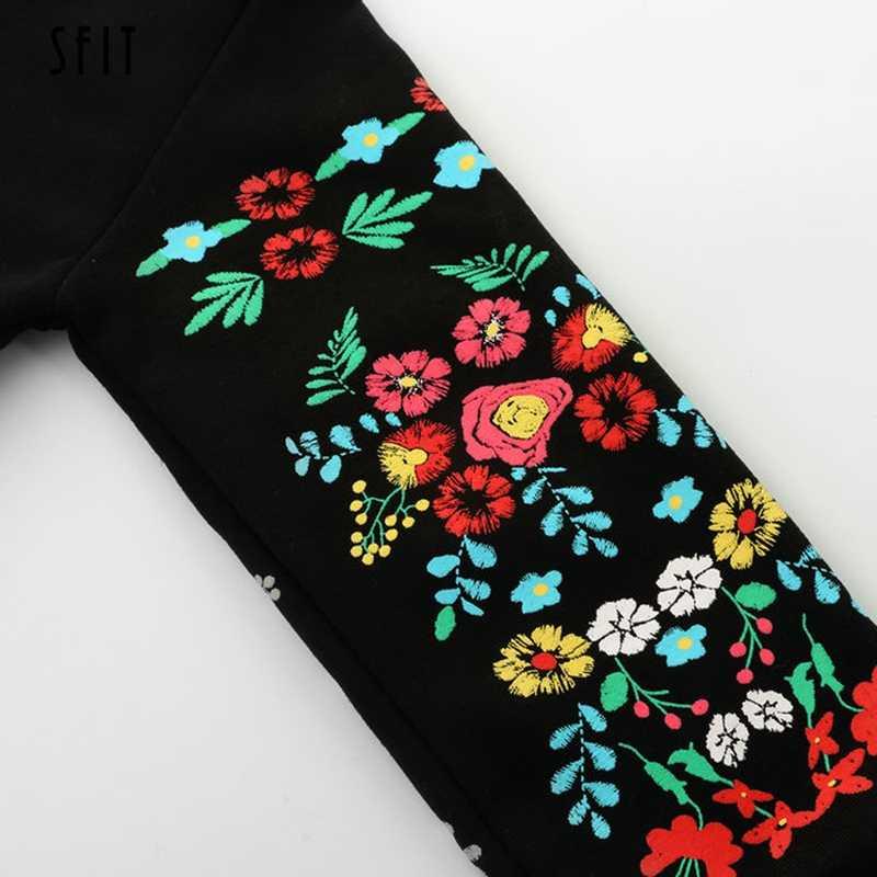 SFIT 2019 женское платье зимнее мини платье классическое цветочное с длинным рукавом o-образным вырезом Свободные Теплые платья черное уличная одежда Vestidos