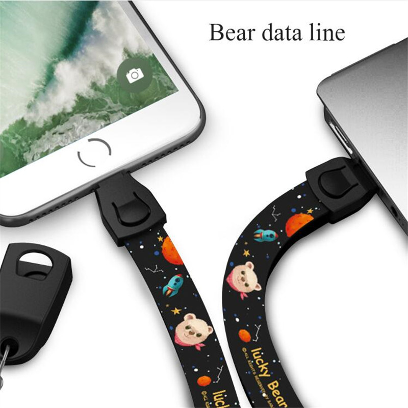 Outdoor Portable USB Charging Cable Mobile Phone Cartoon Lanyard Neck Wrist Phone Strap Type C Micro Keychain For iPhone Samsung in Mobile Phone Cables from Cellphones Telecommunications