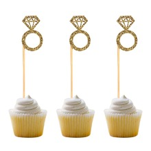 50 pcs Diamond Ring Cupcake Toppers Gold Glitter Cakes Toppers Marriage Anniversary Birthday Valentines Party Cake Decor funnybunny gold glitter diamond ring cake toppers for marriage engagement anniversary birthday valentines party cake decor