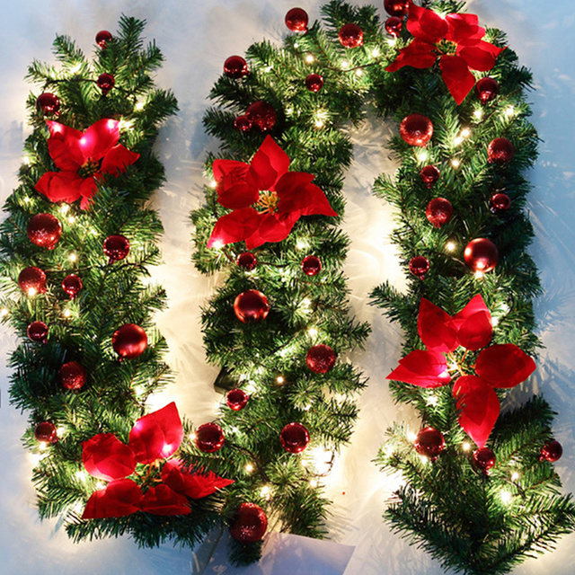 Us 40 05 1 Piece Red Color Christmas Garland Decorations Tree Pine 2 7m Fireplace Hanging Wreath Home Wall Hanging Decor Garlands In Pendant Drop