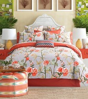 Bright Pastoral Style Orange Flowers Printing 4 Piece Cotton Duvet Cover Sets Bedclothes Pillowcases Bedsheet Queen