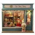 Madera DIY Miniatura casa de muñecas con muebles muñecas del oso led DIY casa de muñecas juguetes para niños adultos