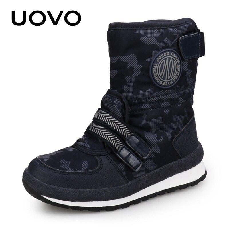 9697f81e73 UOVO 2019 nueva llegada niños botas de nieve para niños y niñas zapatos de  invierno cálidos moda Mediados de pantorrilla niños calzado tamaño Eur  #30-38