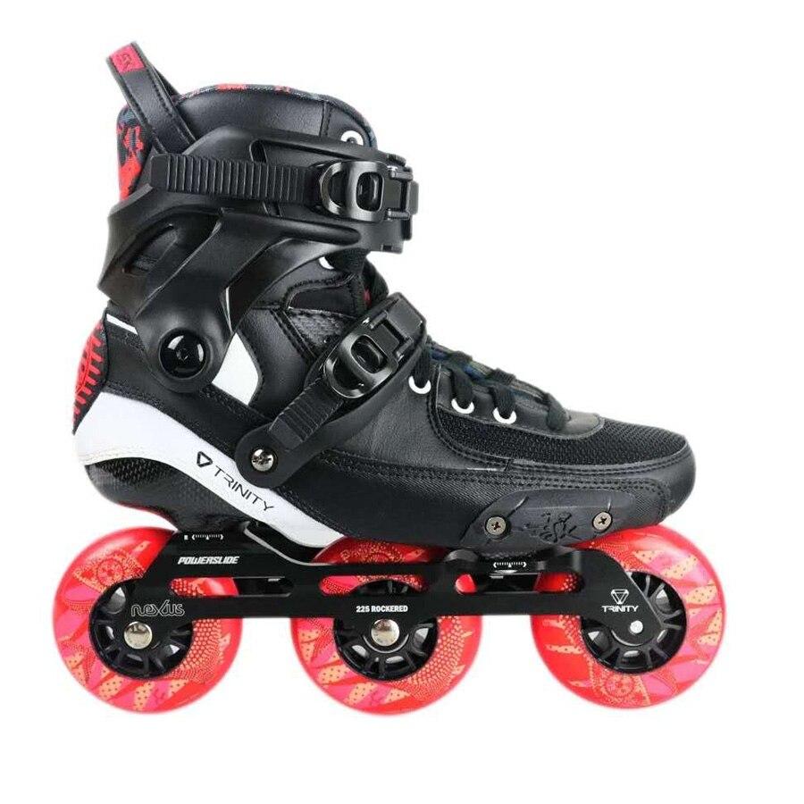 2019 D'origine Powerslide TAU TRINITÉ 3*90mm En Fiber De Carbone Vitesse Inline Patins Rouleau Adulte De Patinage Chaussures Livraison De Patinage patines