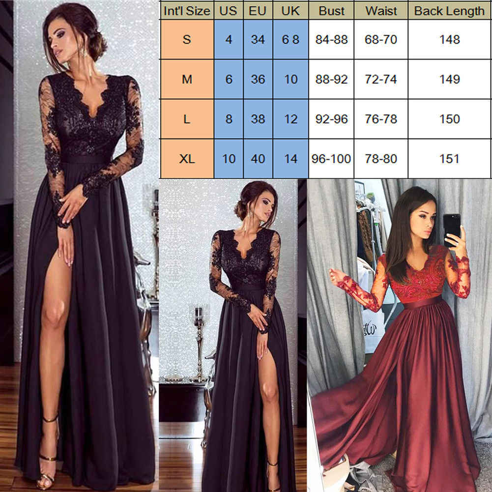 ... 2018 New Women Formal Dress Sexy Long Sleeve Deep-V Evening Party Ball  Prom Gown f1b2cfe9bb36