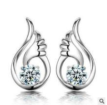 2015 New arrival high quality fashion angel wings design 925 sterling silver female stud earrings jewelry gift drop shipping