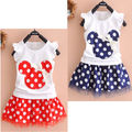 Fashion 2Pcs NEW Toddler Baby Girls Kids Princess Party Dress Cartoon Mouse Dot Dresses