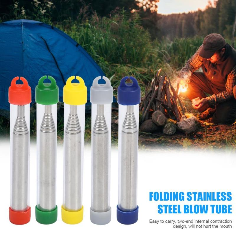 Red Outdoor Folding Stainless Steel Blow Fire Tube Retractable Blowpipes Kits