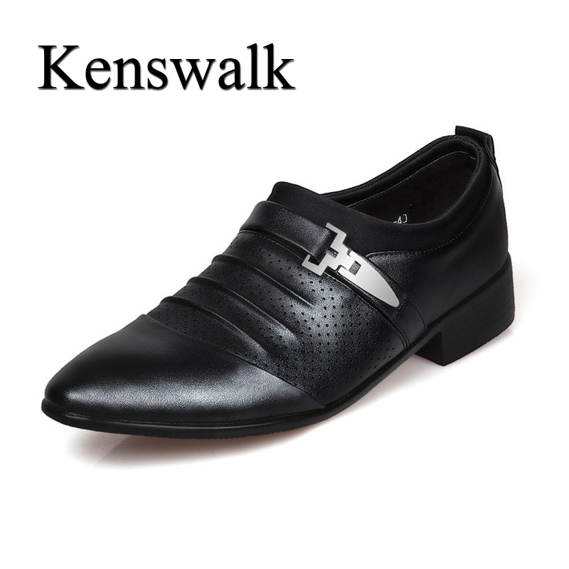 Kenswalk Mens Casual England Male Pointed Toe Business Leather Shoes Light Weight Breathable Anti-slip Dress Shoes in Summer