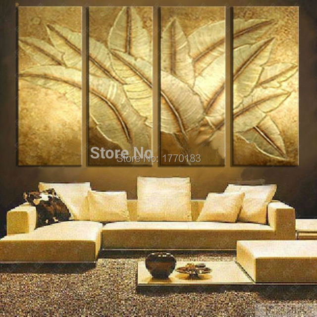 hand made modern canvas oil painting japanese banana plantain leaf ...