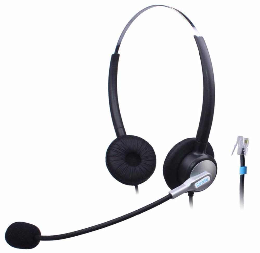 wantek call center telephone headset rj11 headsets with noise cancelling mic for plantronics m22 mx10 [ 1000 x 974 Pixel ]