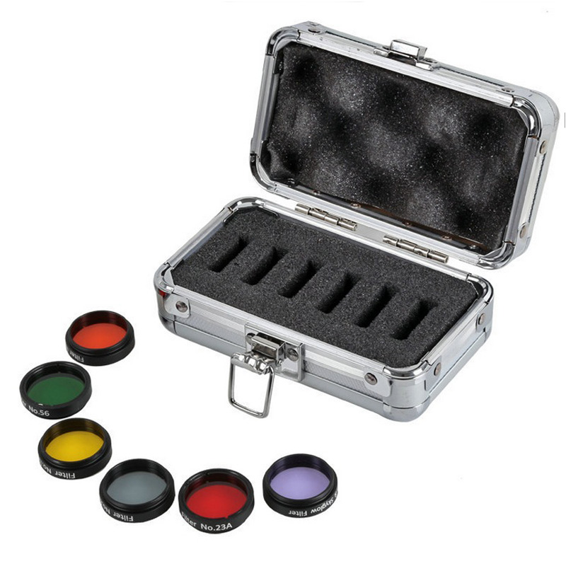 1.25 Color Astro Filters Set (6 pieces) for Astronomical Telescopes Ocular Lens Planets Nebula Filter SkyGlow 1 set pgy lens filters include mc uv nd4