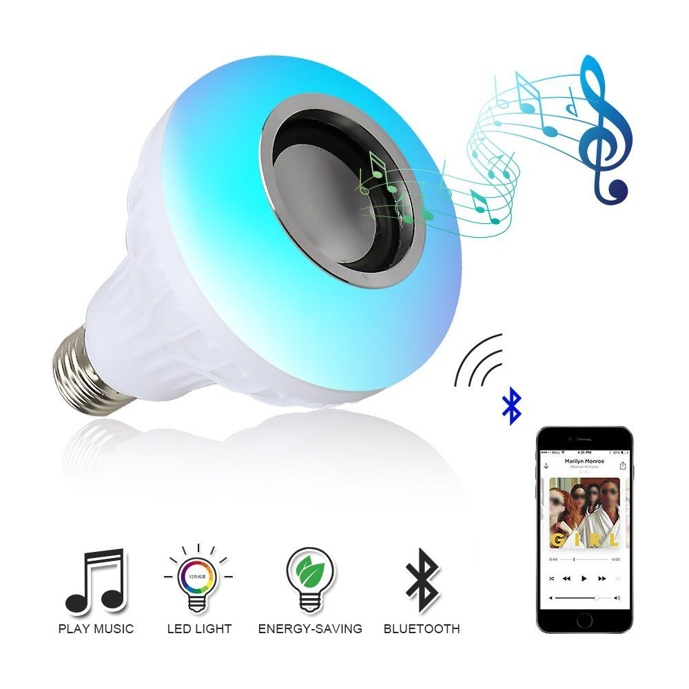 1510X E27 Smart RGBW Wireless Bluetooth Speaker Bulb Music Playing Dimmable LED RGB Music Bulb Light Lamp with Remote Control