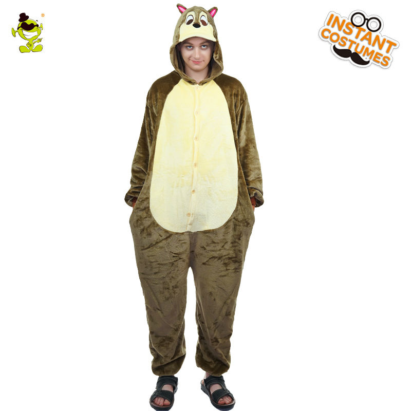 Christmas Male Squirrel Pajamas Costume Role Play in Winter Funny Nightwear Masquerade Squirrel Pajamas for Adult Man