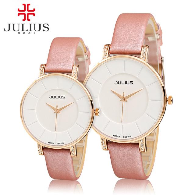 Hot amantes de luxo strass mulheres relógio analógico couro relógios moda casual relógio de quartzo Miyota Famosos Coréia Julius 766 horas
