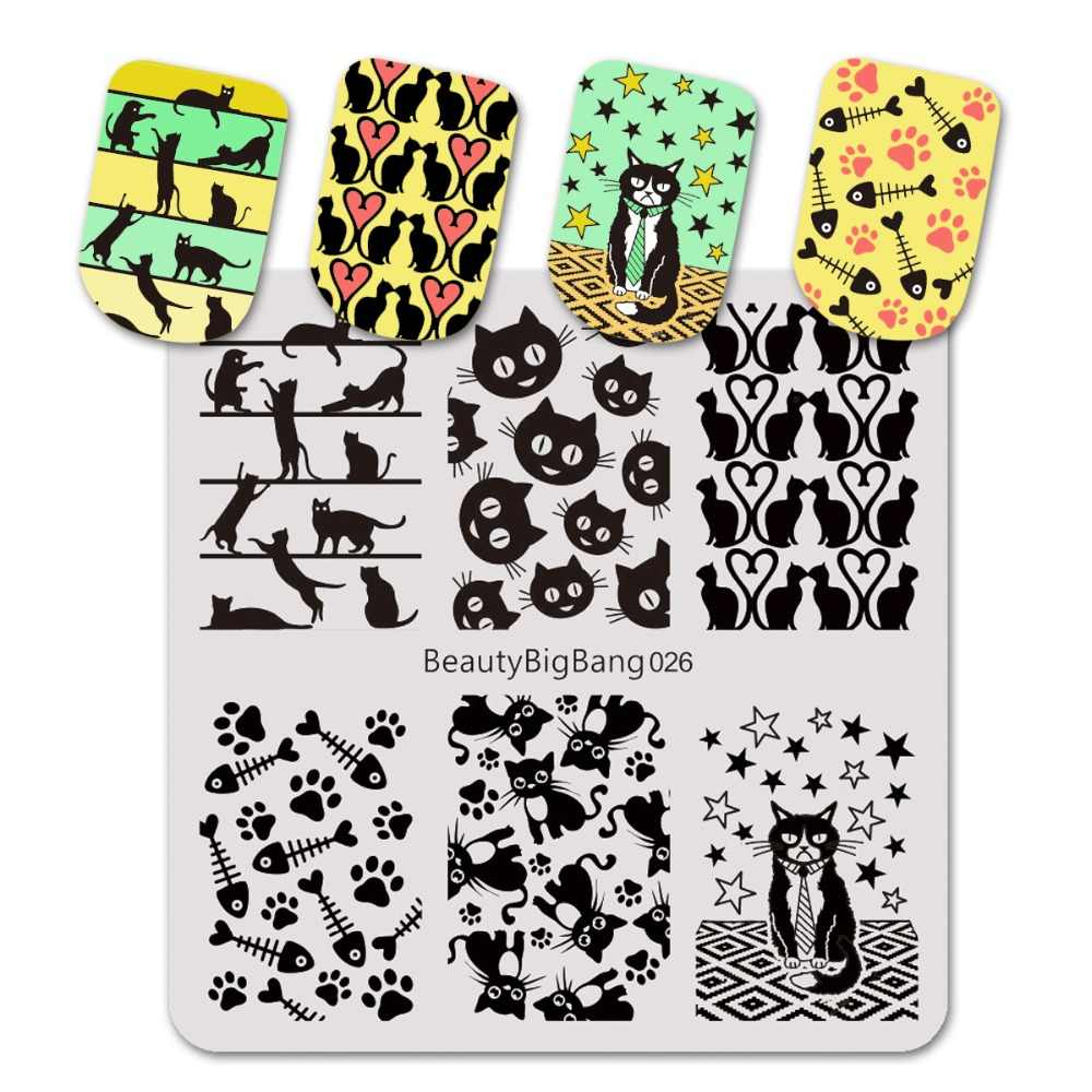 BeautyBigBang 6cm Cat Animal Manicure Pattern Stamping Plate For Nail Polish Nail Art Stamp Stencils Template Stamping BBB026