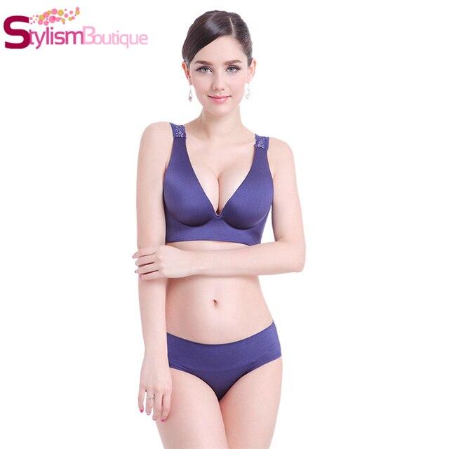 9ea9429e00d 2pcs Set Sexy Women Underwear Set Wireless Push Up Bra Set for Womens  Lingerie Plus