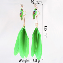 OATHYAN 9 Color 2018 Fashion Hippie Boho Feather Earrings For Women Indian Jewelry Bohemian Bird Enamel Long Drop Dangle Earring