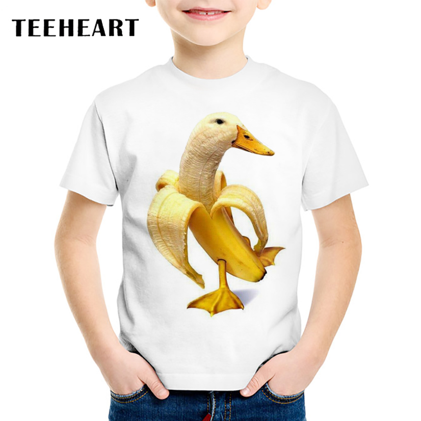 TEEHEART Boys/girls's Modal T-shirt Cute Yellow Banana Ducks Printed T shirt 18M-10T Children Summer Casual Clothing TA578