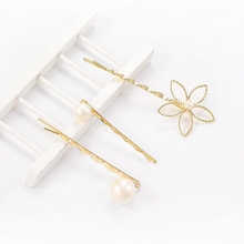 Cool Spring and summer hairpin five-petal flower pearl hairpin hollow three-piece set of seaside clip top clip цены онлайн