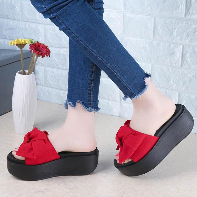 679d95deb SHIDIWEIKE Big Bowtie Woman Beach Flip Flops Summer Sandals Slip- Resistant  Slippers Platform Sandals Size