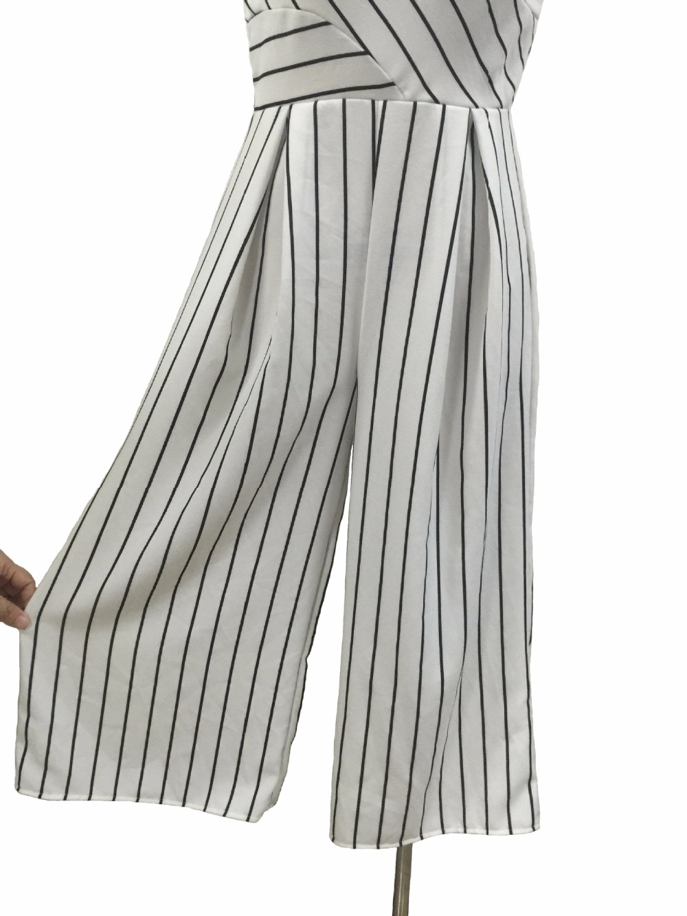 eafd5611df8 Women s Strapless Strip High Waist Wide Leg Long Pants Jumpsuits Rompers  Casual Tunic Summer Beach Party Club Boot Cut Jumpsuit-in Jumpsuits from  Women s ...