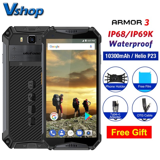 Ulefone Armor 3 4G IP68 Waterproof Mobile Phone Android 8.1 4GB+64GB MT6763T Smartphone Face ID Global Version 5.7″ Cell Phone