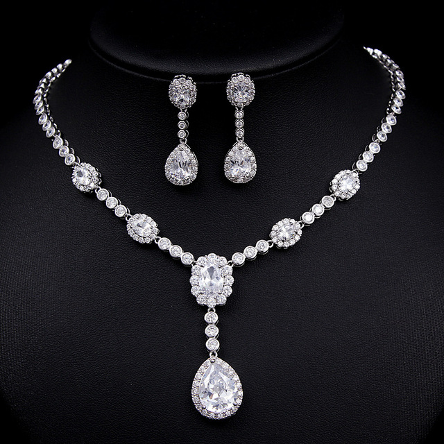 d79872e36 Women Jewelry Sets Including 1 Pair Floral CZ Stud Earrings & 1 Flower Chain  Pendant Necklace